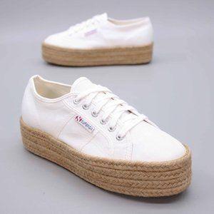 Superga Ladies 7.5 Cotropew Platform Jute Sneaker